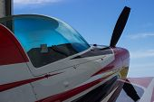 stock photo of aerobatics  - Sport aircraft at the airport ready to fly - JPG