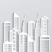 pic of skyscrapers  - Abstract white skyscrapers made of paper - JPG