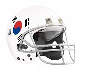 picture of football helmet  - Flagged South Korea American football helmet isolated on a white background with detailed clipping path - JPG