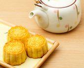 stock photo of teapot  - Mooncake and teapot - JPG