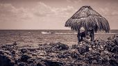 picture of coast guard  - Sepia tone caribbean coast with lifeguard hut in the foreground - JPG