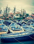 pic of old boat  - Beautiful blue boats in old Essaouira harbor Morocco - JPG