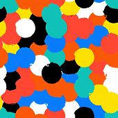 stock photo of color spot black white  - Bold geometric pattern with randomly colored circles in red black white yellow colors - JPG