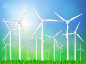 picture of generator  - Wind generators on a grassy field - JPG