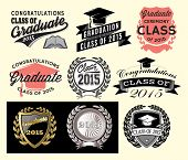 stock photo of graduation  - Graduation sector set Class of 2015 Congrats grad Congratulations Graduate - JPG