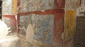 stock photo of mural  - Ancient Civilization Pompeii wall painting mural in Italy - JPG