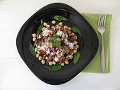 picture of aubergines  - Salad with fried aubergines chick peas and dates - JPG