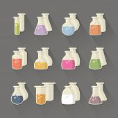 pic of chemical reaction  - Vector miscellaneous form chemical and science flask set signs - JPG