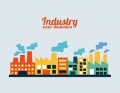 image of polution  - industry design over blue background - JPG