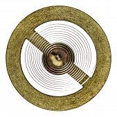 foto of pendulum clock  - Pendulum of the old clock mechanism isolated on white background - JPG