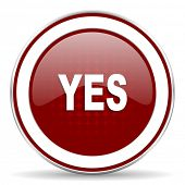 image of yes  - yes red glossy web icon - JPG