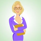 image of respect  - illustration of beautiful respectable business woman with glasses standing with folder - JPG