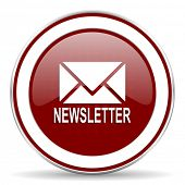 picture of newsletter  - newsletter red glossy web icon - JPG