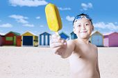 pic of naked children  - Portrait of naked little boy offering a tasty ice cream on the camera shot on the beach - JPG