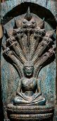 image of carving  - Buddha carved wood at temple in Thailand - JPG