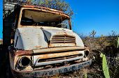 picture of truck farm  - Rusty Abandoned Truck on the Desert - JPG