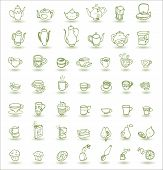 image of teapot  - cups cupcakes fruits and teapots doodle icons - JPG
