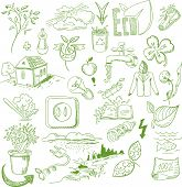 stock photo of biodiesel  - Ecology organic signs eco and bio elements in hand drawn style nature planet protection care recycling save concept - JPG