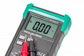 picture of  multimeter  - Digital multimeter with laying probes isolated on white - JPG