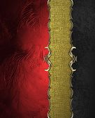 picture of nameplates  - Element of red texture and black texture with gold nameplate - JPG