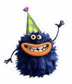 stock photo of monsters  - blue cartoon hairy birthday monster 3 d - JPG