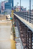 stock photo of scaffold  - Bridge maintenance with scaffolding on the site - JPG