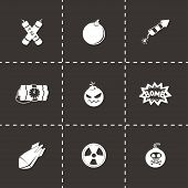 stock photo of nuclear bomb  - Vector Bomb icon set on black background - JPG