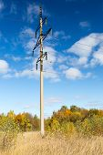 stock photo of power transmission lines  - Steel Power line against the blue sky - JPG