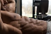 picture of abdominal  - Muscular Mature Man Exercising Abdominals On Exercise Ball In Modern Fitness Center - JPG