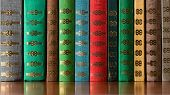 pic of vintage antique book  - Multicolored old antique books on the bookshelf - JPG