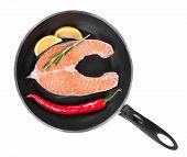 pic of salmon steak  - Fresh salmon steak on pan - JPG