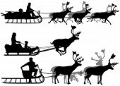 stock photo of caribou  - Set of eps8 editable vector silhouettes of people in sleighs pulled by reindeer with all figures as separate objects - JPG