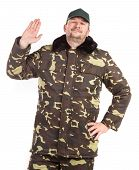 stock photo of camouflage  - Worker in Camouflage winter jacket with black collar - JPG