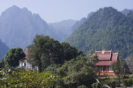 foto of bans  - Buddhist temple at Ban Phatang - JPG