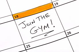 stock photo of joining  - A date written on a calendar to join the gym - JPG