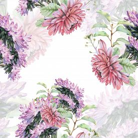 pic of pencils  - Seamless pattern with beautiful spring flowers and plants drawn by hand with colored pencils - JPG
