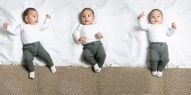pic of infant  - Set of poses of cute infant baby boy lying on a blanket looking at camera - JPG