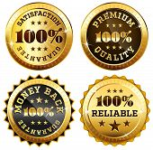 Set of 4 business seals in gold and black poster