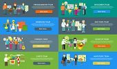 Постер, плакат: Work Team People Job Concept Flat Design