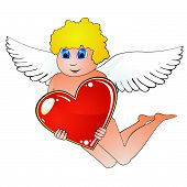 stock photo of cherubim  - Blond sweet cupid with white wings and blue eyes holding red heart - JPG