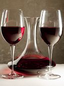Glasses and Decanter of Red Wine