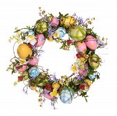 stock photo of easter flowers  - a colorful easter egg wreath isolated over white - JPG