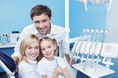 Постер, плакат: Семьи в стоматологическом кабинете