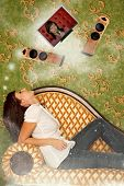 Girl Sits On Sofa And Dreams About Hi-fi System At Wall Collage, Be Star With Our Home Cinema