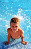 Little Smiling Boy Splash Around In Water In Blue Swimming-pool