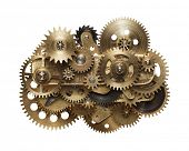 Metal collage of clockwork gears isolated on white background poster