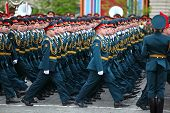 Officer Soldiers March On Rehearsal Of Parade In Honor Of Great Patriotic War Victory