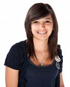 stock photo of braces  - Cute Hispanic teenage girl with braces and a big smile - JPG