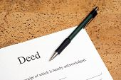 image of deed  - A closeup shot of deed forms ready for signing - JPG