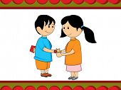 background with sister knotting rakhi to brother